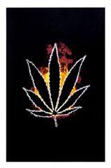 Burning Flames Hemp Leaf Black Tapestry