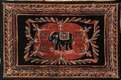Black and Gold Batik Elephant Bohemian Tapestry