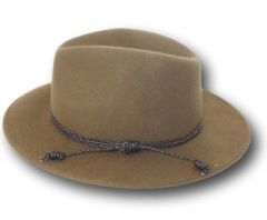 Pecan Colored Wool felt panama hat with braided trim