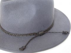 Grey Wool felt panama hat with braided trim