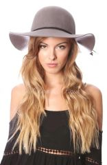 GREY SMALL BRIM FLOPPY HAT WITH BRAIDED SUEDE TRIM