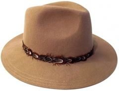 Wool felt panama hat with feather detail Brim in Camel