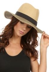 Tan and Brown Wide brim panama straw hat