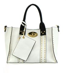 FAUX LEATHER STUD ACCENT HANDBAG