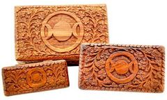 TRIPLE MOON CARVED WOOD BOX