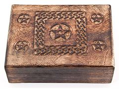 "CELTIC KNOT PENTACLE CARVED WOODEN BOX - 5""X 8"""