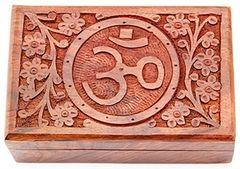 Floral Om Symbol Wooden Box