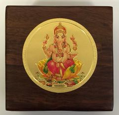 Wood Box With Gold Ganesha