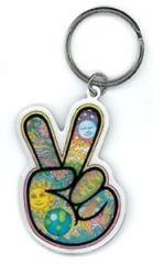 PEACE FINGER BY DAN MORRIS KEY CHAIN
