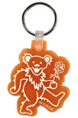 VINTAGE DANCING BEAR ORANGE KEY CHAIN