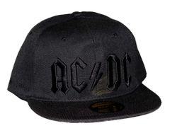 AC/DC Black on Black Logo Flat Bill Snapback Hat