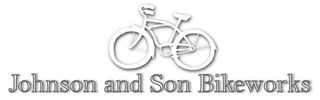 "Logo with bicycle and text that reads, ""Johnson and Son Bikeworks"" in black and white"