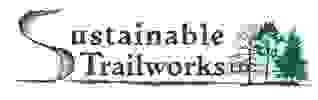 "Sustainable Trailworks font with trees and big ""S"""