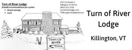 Logo for Turn of River Lodge drawing of lodge with skis and sign in front. Killington, VT