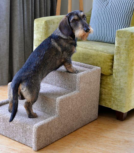 Handmade Carpeted Wood Pet Steps