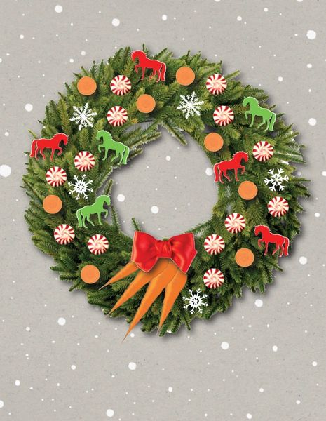 Christmas Card: Wreath decorated with carrot slices, peppermints and horses