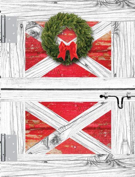 Christmas Card: Quaint Barn Door with Wreath