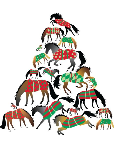 GC X 17: Christmas Tree made of Blanketed Horses