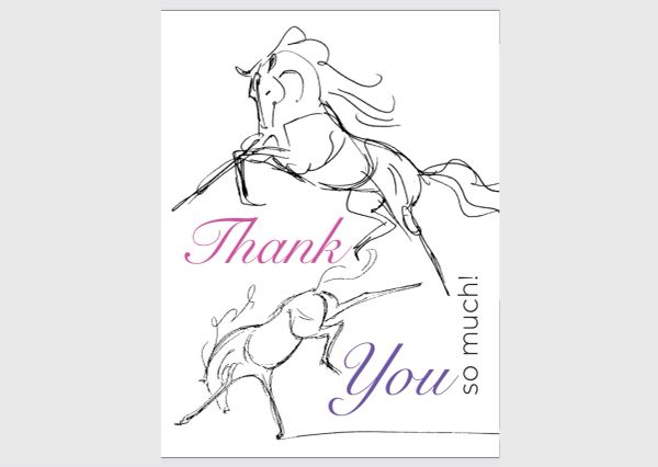 GC Thank you card: Sketch Book Horses Blank Inside card