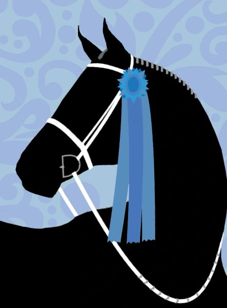 GC Thank you card: Silhouette Horse Blue Ribbon Thank you! Inside card
