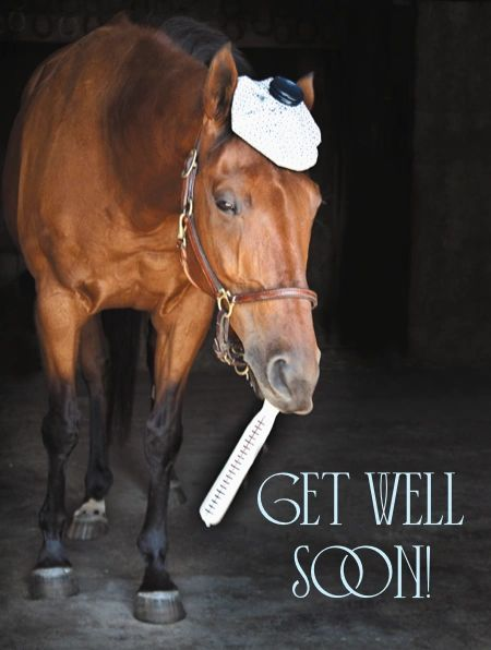 Get Well Card: Get Well Soon - Horse with Thermometer