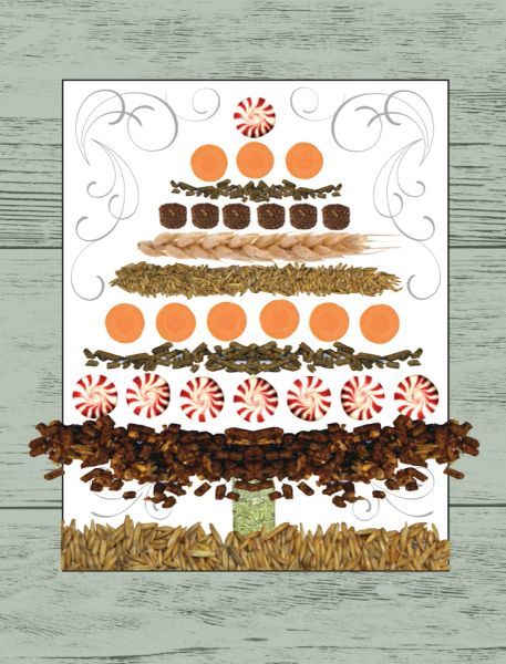 Christmas Card: Christmas Tree made with treats, grain, peppermints & carrots