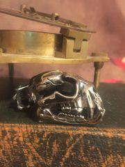 Polished Steel Cat Skull Pendant