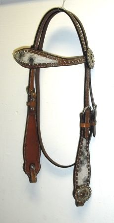 Hair on Hide Leather Headstall