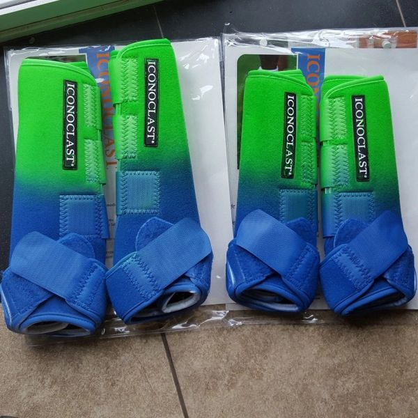Brand New Custom Airbrushed Lime Green and Blue Iconoclast Sport Boots