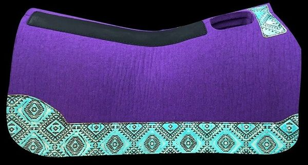 Purple Felt Barrel Racer 30x28 Light Turquoise Aztek