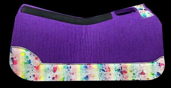 Purple Felt Barrel Racer 30x28 Rainbow Acid Wash
