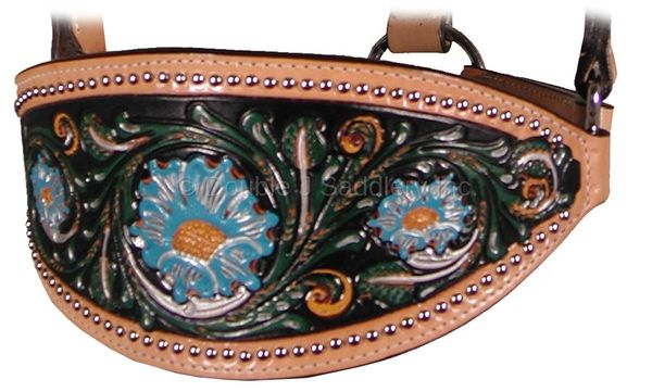 SKIRTING LEATHER PAINTED TOOLED BRONC HALTER - HBH09