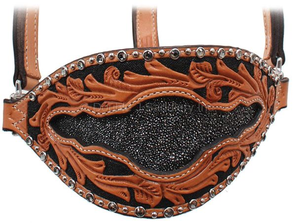 NATURAL LEATHER GENUINE STINGRAY INLAY BRONC HALTER - HBH10