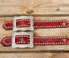 """RED FILIGREE BELT STYLE SPUR STRAP W/1.25"""" WESTERN STYLE BUCKLE"""