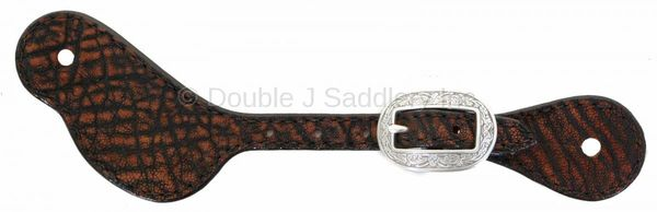 Peat Elephant spur strap with engraved buckle