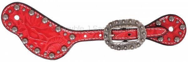 RED FLORAL SPUR STRAPS -