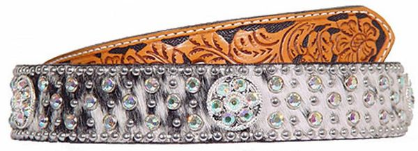 ROAN HAIR AND FLORAL TOOLED BELT