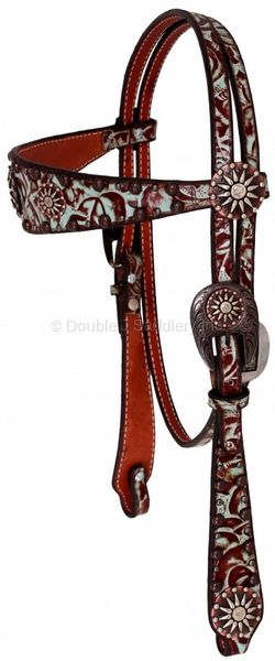 BROWN LEATHER WITH TURQUOISE FLORAL OVERLAY HEADSTALL - H003