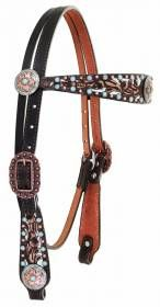 BROWN VINTAGE TOOLED AND STUDDED HEADSTALL - H980