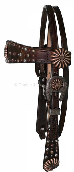 BROWN VINTAGE STUDDED HEADSTALL - H1099
