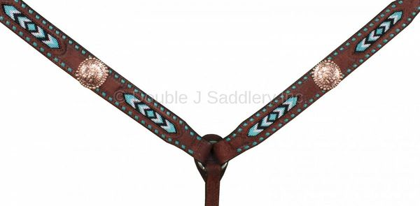 BROWN ROUGH OUT BEADED BREAST COLLAR - BC451
