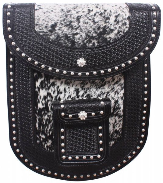 BLACK HAND-TOOLED AND COWHIDE ROPE BAG - RB10