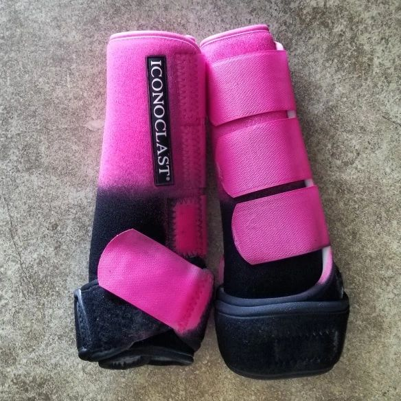 Neon pink to black with neon pink straps