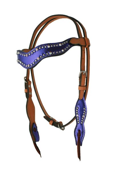 ALAMO WAVE STYLE HEADSTALL W/ PURPLE METALIC OVERLAY