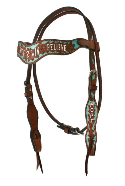 ALAMO WAVE STYLE HEADSTALL W/ TURQUOISE PAINT