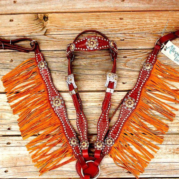 Brown Gator/Chestnut Leather Fringe Browband Tack Set w/Smoke Topaz-Lt. Topaz Crystal Rhinestone Conchos