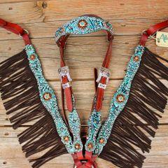 Teal Filigree/Chestnut Leather Fringe Browband Tack Set w/Teal-SmkTopaz-Lt. Topaz Crystal Rhinestone Conchos