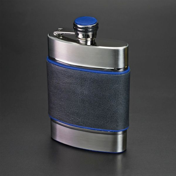 The 6 Oz Flask Series 2 Blue And Gray Color Leather Brizard And Co