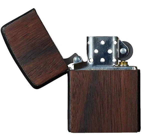 Zippo Lighter - Macassar Ebony and Black Leather