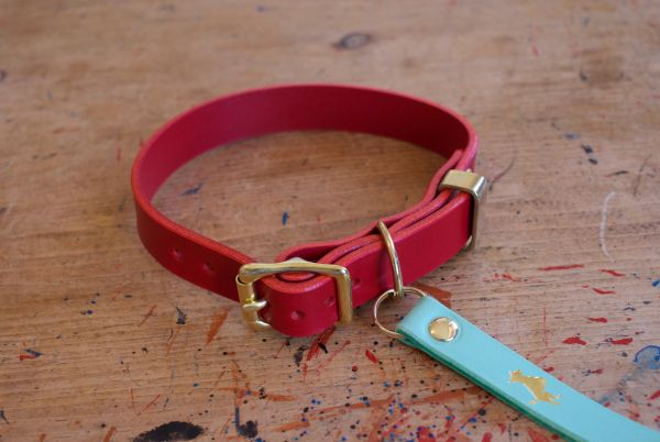 Cranberry luxury leather dog collar